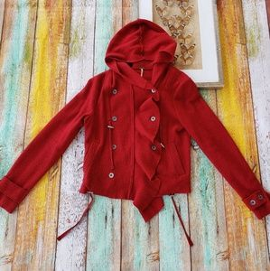 Free people Red Wool Ruffle Hooded Jacket Cardigan